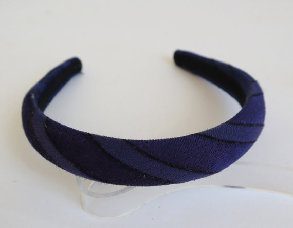 Blue 70s Velvet Headband With Black Stripes