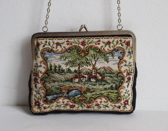 60s Tapestry Top Handle Bag With Landscape/Buildin