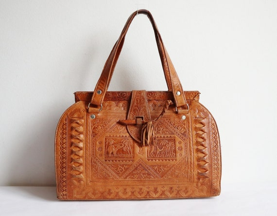 Golden Brown 60s Handmade Tooled Moroccan Vintage