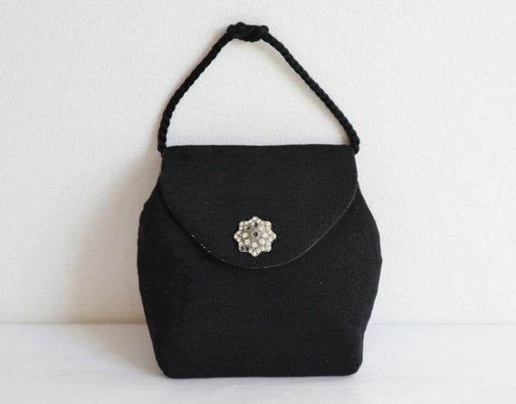 Cute Black 40s Vegan Vtg. Hand Bag/Party Bag With