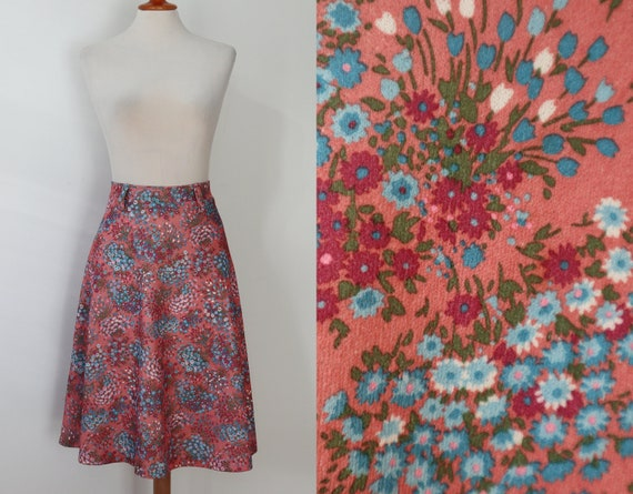 70s Pink A Line Skirt With Blue White & Red Flower