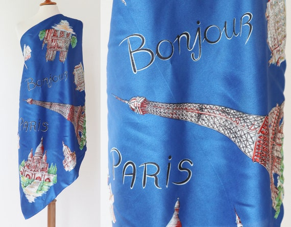 Blue Vtg. Souvenir Scarf // Bonjour Paris // Made… - image 3