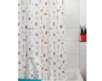 Fun art print shower curtain / Cool shower curtain / Unique shower curtain with shower curtain hooks