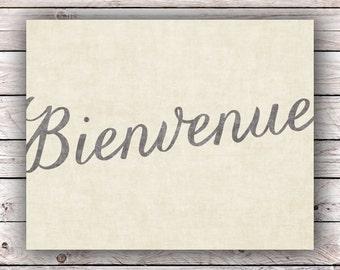 Bienvenue Printable Art Print Instant Digital Download Typography Art Print French Quote Art Print France Francophile Home Decor Wall Art