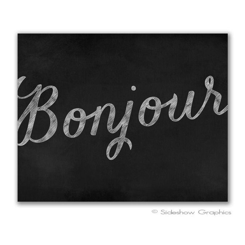Bonjour Chalkboard Druckbare Kunstdruck Digitaler Download Etsy