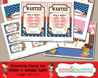 Cowboy & Cowgirl Party Printables