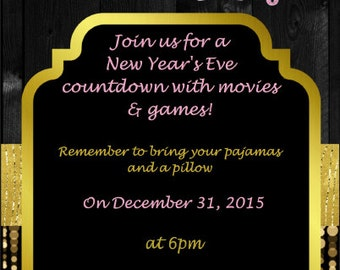 new years eve slumber party invitation