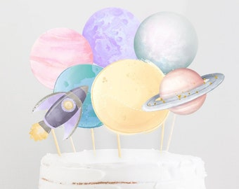 Printable First Trip Around the Sun Cake Topper, Outer Space Cake Topper, Planets Cake Topper Printable, First Year Around the Sun  796