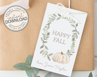 Pumpkin Favor Tag, Fall Thank You Tag, Fall Favor Tag, Happy Fall Tags, Autumn Favor Tag, Fall Gift Tags, Thank You Tag, Favor Tag Template