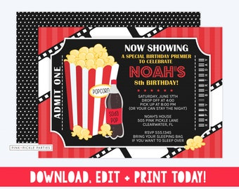 movie invitation movie party movie birthday birthday invitation movie invite movie ticket ticket invitation movie night 505