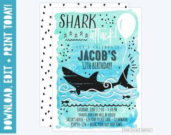 shark birthday invitations shark birthday invites shark etsy