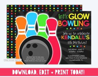 bowling party invitation bowling party bowling invitation etsy