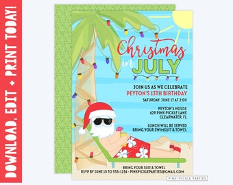 Christmas in July Invitation, Christmas in July, Summer Christmas, Summer Santa, Santa in July, Christmas July, Instant Download | 629