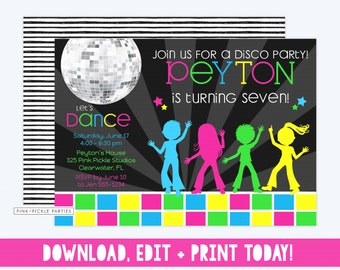 dance party invitations thank you notes favor stickers etsy