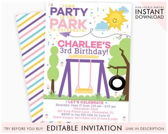 Park Invitation Party Birthday Playground Invite