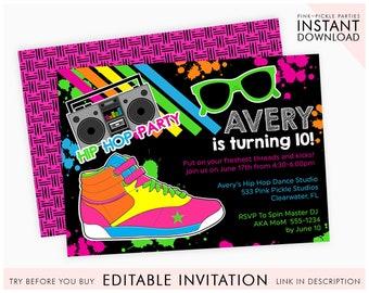 Hip Hop Invitation Party Dance 90s 80s Download