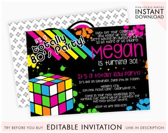 80s Themed Invitations Birthday Party Invitation Template Instant Download Edit Online With Corjl