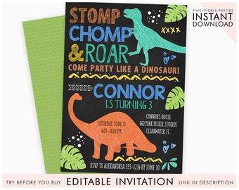 Dinosaur Birthday Invitation Party Invitations Digital Chalkboard