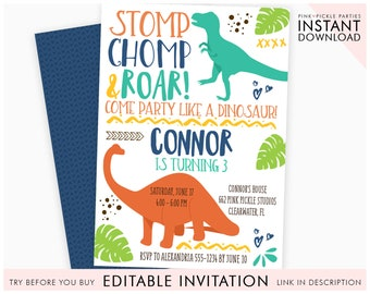 graphic regarding Printable Dinosaur Birthday Invitations identified as Dinosaur invitation Etsy