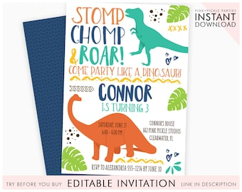 Dinosaur invitation etsy dinosaur invitation dinosaur birthday invitation dinosaur dinosaur invites invitation dinosaur birthday party printable invitation 662 filmwisefo