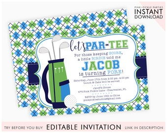 Golf Invitation Birthday Party Invite