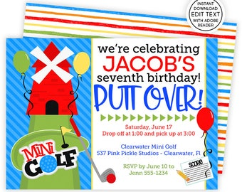 Mini golf invitation etsy golf invitation mini golf invitation golf birthday invitations mini golf invite golf party invite golf birthday invitation 537 filmwisefo