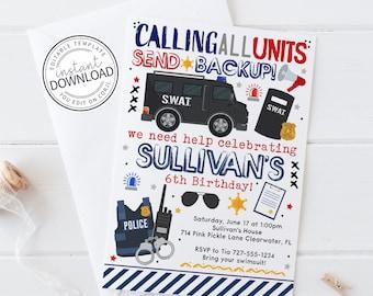 SWAT Invitation, Police Invitation, Police Birthday Invitation, Policeman Party Invitation, Police Officer Invitation, Cop Invitation | 714