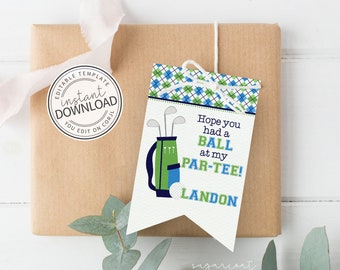 Golf Favor Tag, Golf Party Favor Tag, Golf Gift Tags, Printable Tags, Birthday Party Printable, Instant Download Editable Template | 475