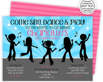 Dance Invitation, Dance Party, Dance Birthday, Dance Invitations, Dance Party Invites, Dance Invites, Dance Birthday Party | 481