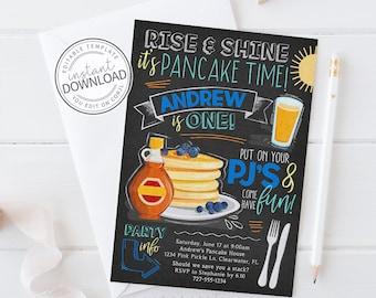 Pancakes and Pajamas Invitation, Pancake and Pajamas Birthday Invitation, Pancakes and PJS, Breakfast Invitation, Instant Download   744