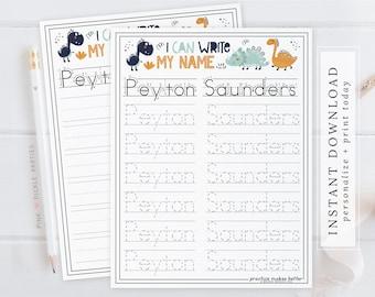 Custom Personalized Name Tracing Worksheets. Lettering Worksheets for Preschool Curriculum. Montessori, Kindergarten, Printable Dinosaur