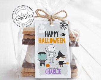 Editable Halloween Favor Tags, Halloween Tags, Halloween Party, Halloween Stickers, Halloween Hang Tag, Pastel Halloween Tags 770