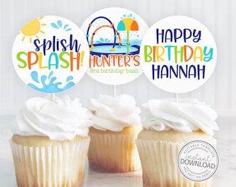 Editable Splash Pad Cupcake Toppers, Splash Pad Birthday Party, Cupcake Topper, Printable Cupcake Topper, Instant Download Editable 687