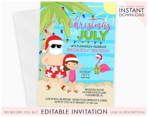 Christmas In July Party Clipart.Christmas In July Invitation Christmas Flamingo Flamingo Invitation Holiday Invitation Santa Invitation Printable Invitation 726