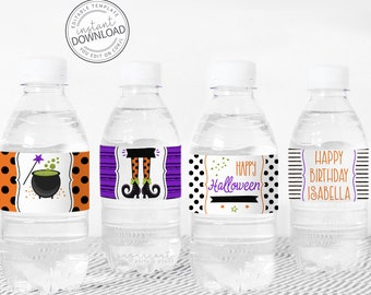 Witch Water Bottle Label, Witch Water Bottle Wrap, Halloween Bottle Label, Halloween Printables, Halloween Party, Halloween Download 623