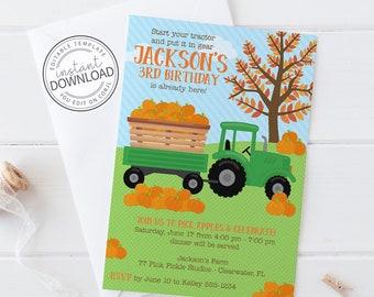 Tractor Birthday Invitation, Tractor Birthday Invite, Farm Birthday Invitation, Pumpkin Tractor Birthday, Pumpkin Farm Invitation 78