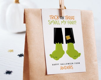 Editable Halloween Favor Tags, Halloween Tags, Halloween Party, Halloween Stickers, Halloween Hang Tag, Trick or Treat Smell my Feet Tag