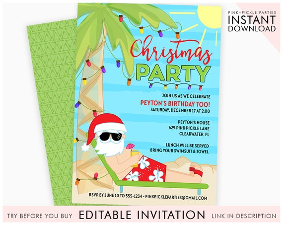 Christmas In July Swimsuit.Christmas In July Invitation Christmas In July Summer Christmas Summer Santa Santa In July Christmas July Instant Download 629