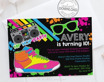 Hip Hop Invitation, Hip Hop Party, Dance Invitation, Dance Party Invitation, Dance Party, 90s Invitation, 80s Invitation, Download | 533