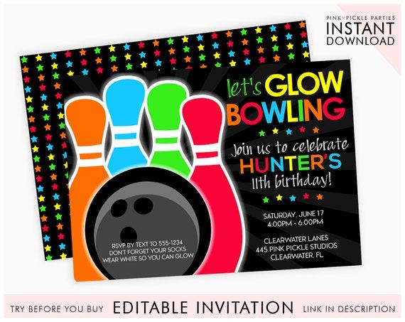 Glow Bowling Invitations Bowling Invitation Glow Bowl Etsy