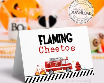 Fire Truck Food Tent Card, Fireman Food Tent Card, Candy Buffet Label, printable party decorations, instant download editable template | 710