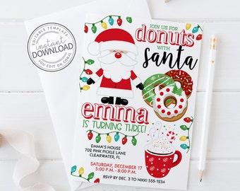 Donuts With Santa Invitation, Breakfast with Santa Invitation, Santa Invitation Download, Christmas Party Invites, Holiday Invitation   702