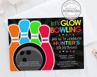 Glow Bowling Invitations, Bowling Invitation, Glow Bowl Invites, Neon Bowl, Bowling Party Invitation, Bowling Invite, Bowling Birthday   445