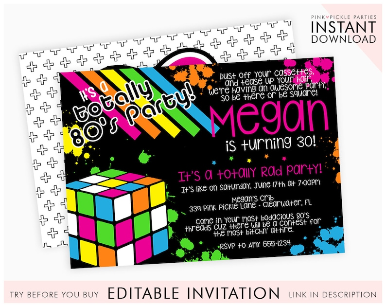 80s Themed Invitations 80s Birthday Party Invitation Template Etsy