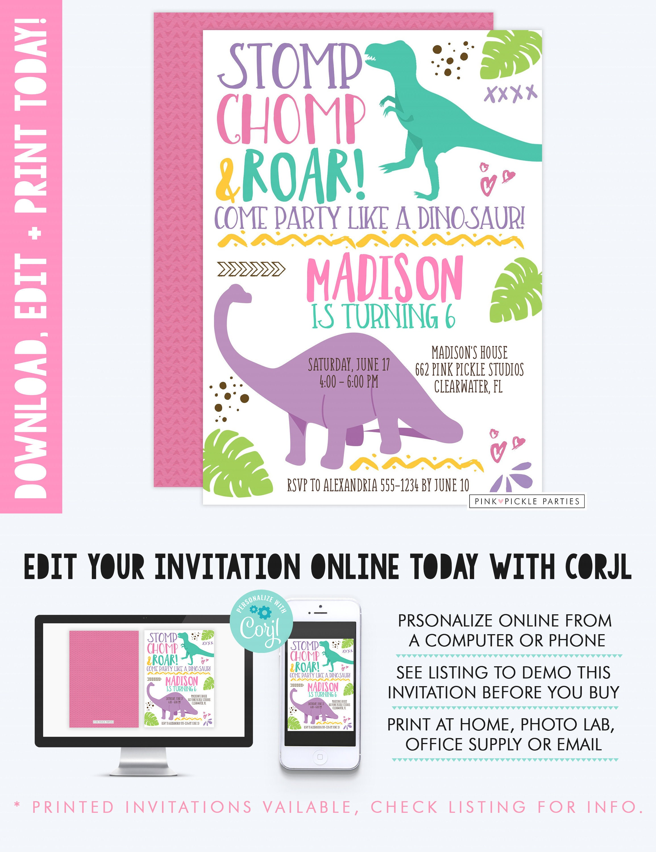 Dinosaur Invitation Dinosaur Birthday Invitation Dinosaur | Etsy