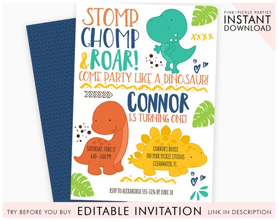 Dinosaur Invitation Baby Birthday Invites Party