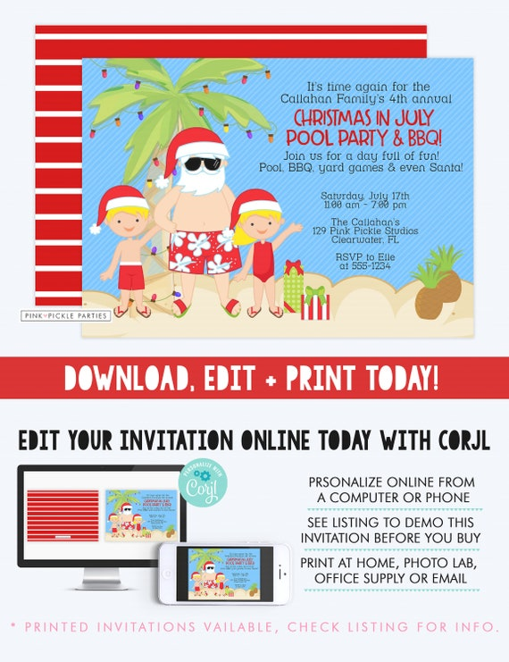 christmas in july invitation christmas in july summer etsy