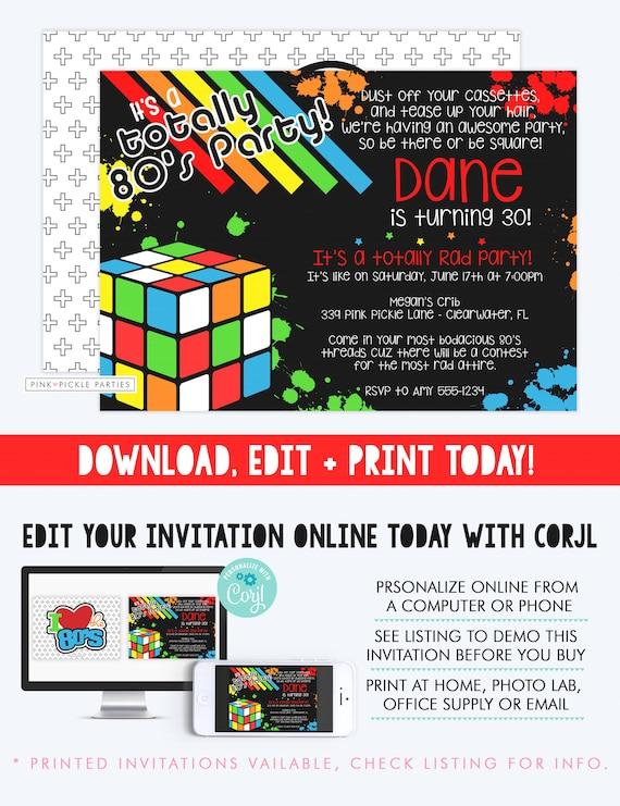 80s themed invitations 80s birthday party invitation template etsy