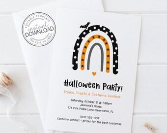 Rainbow Halloween Invitation, Kid Halloween Party Invitation, Halloween Invitation Download, Halloween Invitation Template Download 776