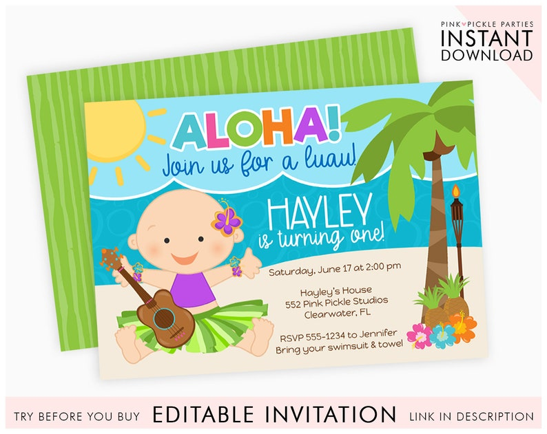 Luau Invitation 1st Birthday Baby